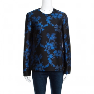 Stella McCartney Black and Blue Floral Jacquard Long Sleeve Top S -