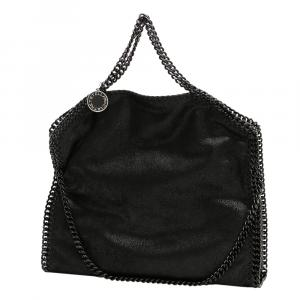 Stella McCartney Black Leather 3 Chain Falabella Bag