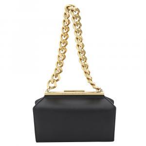 Stella McCartney Black Leather Structured Macro Chain Medium Bag