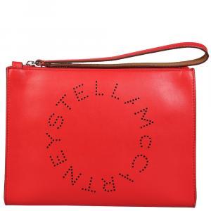 Stella McCartney Red Leather Stella Logo Clutch Bag