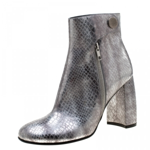 Stella McCartney Metallic Silver Python Embossed Faux Leather Ankle Boots Size 40 -