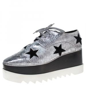 Stella McCartney Metallic Silver Python Effect Faux Leather And Faux Fur Elyse Star Platform Derby Size 41 -