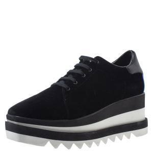 Stella McCartney Black Velet Elyse Platform Lace Up Sneakers Size 39.5 -
