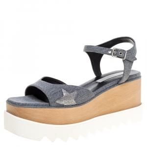 Stella McCartney Grey Canvas Elyse Platform Ankle Strap Sandals Size 40 -