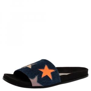 Stella McCartney Blue Denim Fabric Star Flat Slides Size 41 -