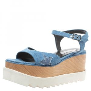 Stella McCartney Blue Denim Elyse Platform Ankle Strap Sandals Size 40 -