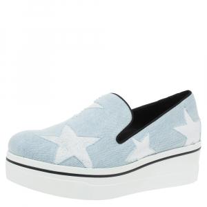 Stella McCartney Blue Denim Star Binx Platform Sneakers Size 40 -