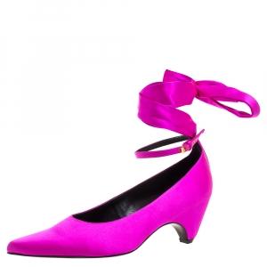 Stella McCartney Fuchsia Satin Bow Tied Pointed Toe Pumps Size 38 -