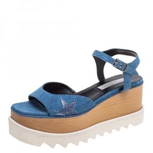 Stella McCartney Blue Denim Elyse Platform Ankle Strap Sandals Size 39.5 -