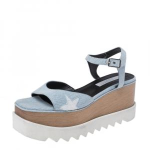 Stella McCartney Blue Wash Denim Elyse Platform Ankle Strap Sandals Size 40 -