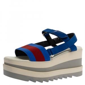Stella McCartney Blue Canvas Striped Platform Ankle Strap Sandals Size 40 -