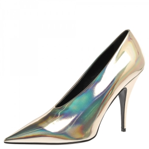 Stella McCartney Holographic Gold Faux Glossy Leather V Neck Pointed Toe Pumps Size 40.5 -