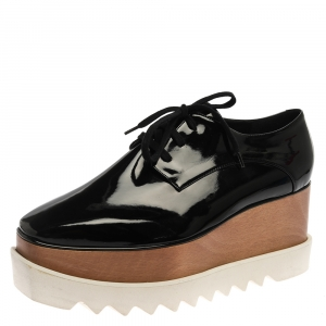 Stella McCartney Black Faux Patent Leather Elyse Platform Derby Sneakers Size 41 -