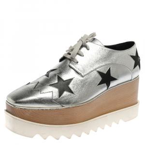 Stella McCartney Silver/Black Faux Leather Elyse Star Platform Derby Size 41 -