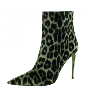 Stella McCartney Green/Black Animal Print Velvet Pointed Toe Ankle Booties Size 41 -