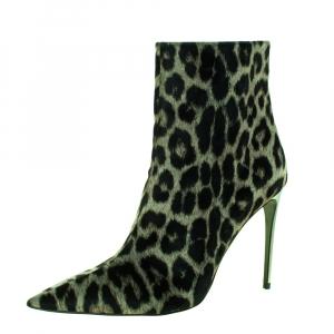 Stella McCartney Green/Black Animal Print Velvet Pointed Toe Ankle Booties Size 36 -