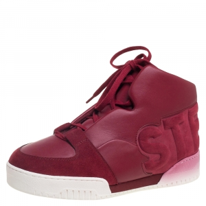 Stella McCartney Red Faux Suede Leather High Top Sneakers Size 37 -