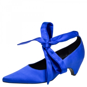 Stella McCartney Blue Satin Ankle Wrap Pumps Size 40 -