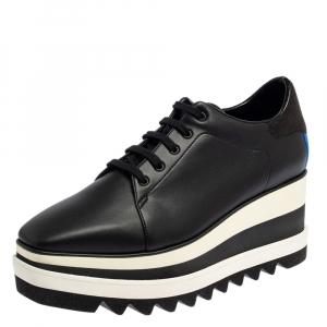 حذاء رياضي ستيلا مكارتني إلسي جلد أسود صناعي نعل سميك مقاس 40
