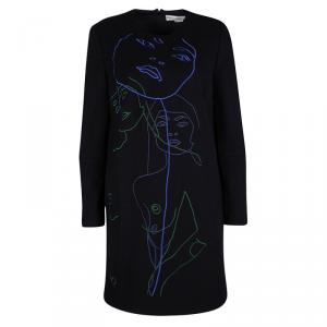Stella McCartney Black Wool Embroiderd Faces Long Sleeve Melton Shift Dress S - used