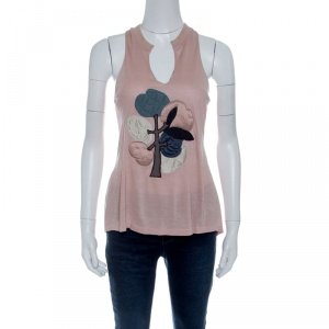 Stella McCartney Blush Pink Quilted Floral Applique Motif Racer Back Top S - used