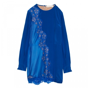 Stella McCartney Klein Blue Floral Lace Insert Mesh Paneled Silk Dress S - used