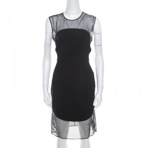 Stella McCartney Black Sheer Silk Paneled Sleeveless Sheath Dress M used