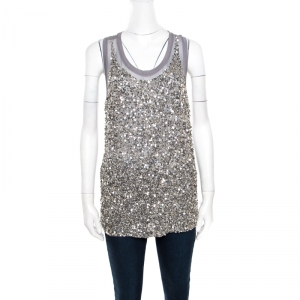 Stella McCartney Grey Silk Cotton Sequin Embellished Tank Top S - used