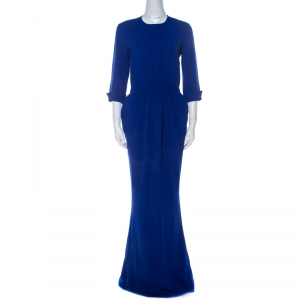 Stella McCartney Blue Stretch Cady Gathered Waist Maxi Dress M - used