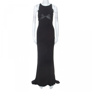 Stella McCartney Black Crepe Lace Insert Sleeveless Maxi Dress XS used