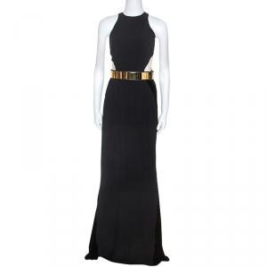 Stella McCartney Black Velvet Belted Saskia Stretch-Cady Gown M - used