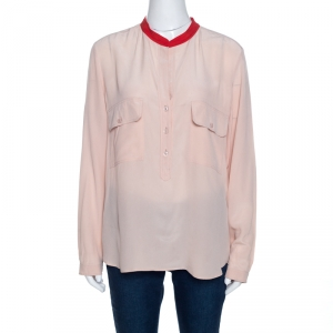 Stella McCartney Pale Pink Silk Crepe Contrast Collar Detail Top M - used