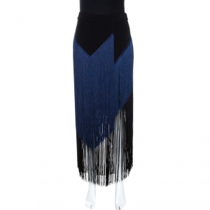 Stella McCartney Bicolor Crepe Asymmetrical Fringed Veronica Skirt S - used