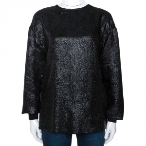 Stella McCartney Black Lurex Floral Silk Jacquard Donna Top S - used
