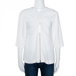 Stella McCartney Off White Crepe Bow Detail Top M - used