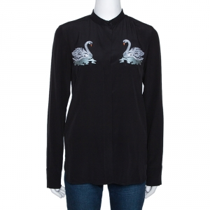 Stella McCartney Black Swan Embroidered Silk Shirt S - used
