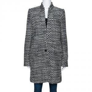 Stella McCartney Monochrome Tweed Bryce Coat M