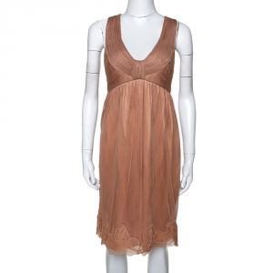 Stella McCartney Copper Silk Tulle Gathered Halter Neck Dress S - used