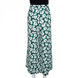Stella McCartney Green Floral Printed High Waist Wide Leg Maude Trousers M - used