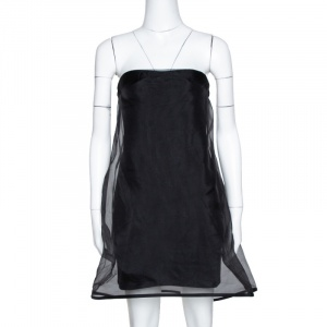 Stella McCartney Black Silk Organza Overlay Strapless Dress M - used