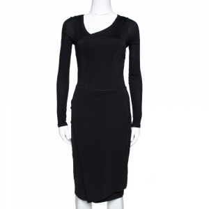 Stella McCartney Black Knit Pleat Front Sheath Dress S - used