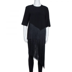 Stella McCartney Black Stretch Crepe Edith Fringed Top S - used