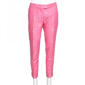 Stella McCartney Neon Pink Cotton Jacquard Tapered Pants S - used
