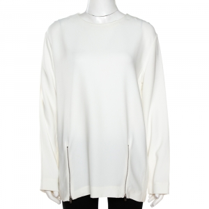 Stella McCartney White Crepe Zip Detail Long Sleeve Blouse L - used