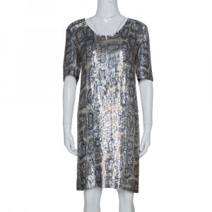 Stella McCartney Metallic Sequin Embellished Short Sleeve Shift Dress M used