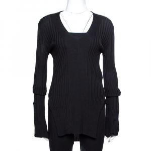 Stella McCartney Black Ribbed Knit Fitted Sweater M - used