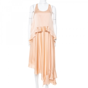 Stella McCartney Champagne Pink Silk Tiered Yenna Asymmetric Dress S
