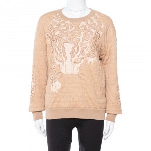 Stella McCartney Beige Leopard Jacquard Knit Sweatshirt L