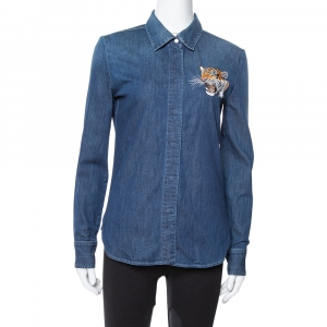 Stella McCartney Blue Denim Tiger Embroidered Shirt S - used