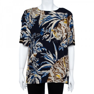 Stella McCartney Navy Stretch Crepe Cat Print Blouse L - used